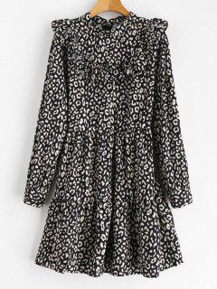 Print Flounce Smock Dress - Black L