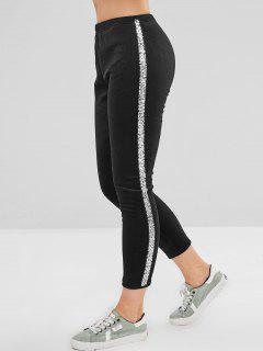 Pantalon Skinny à Paillettes Velours - Noir 2xl