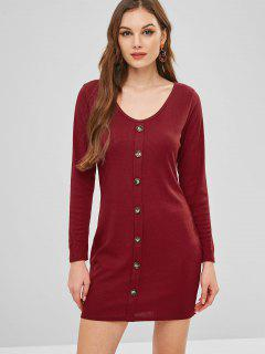 Plunge Knit Long Sleeve Tight Dress - Red Wine S