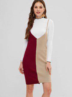 Robe Camisole En Tricot Bicolore à Blocs De Couleurs - Multi L