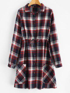 Robe Chemise à Carreaux à Cordon - Multi L
