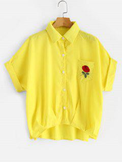 Rolled Sleeve Pleated Hem Floral Pocket Shirt - Yellow