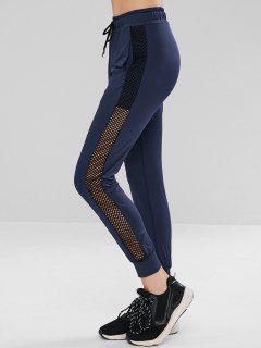 Drawstring Fishnet Insert Gym Jogger Pants - Deep Blue M