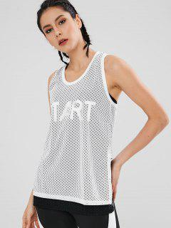 Perforated Racerback Overlay Sport Tank Top - White L