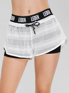 Letter Color Block Overlay Shorts - White M