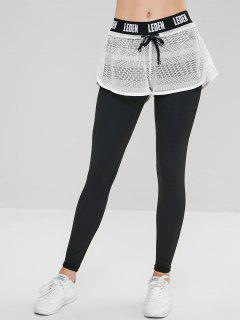 Letter Hollow Out Overlay Leggings - White L