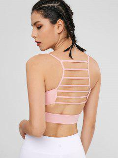 Straps Caged Sport Yoga Bra - Pink L