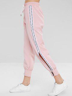 Letter Striped Button Cuffs Pants - Pink L