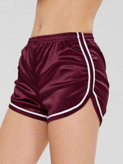 Dolphin Contrast Trim Workout Sport Shorts - Red Wine M