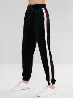 ZAFUL Striped Velvet Drawstring Jogger Pants - Black S