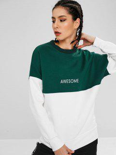 Drop Shoulder Two Tone Athletic Sweatshirt - Green L
