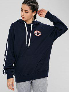 Terry Pouch Pocket Pullover Oversized Hoodie - Midnight Blue L