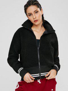 ZAFUL Fluffy Zipper Striped Teddy Jacket - Black M