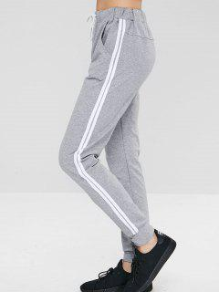 ZAFUL Striped Drawstring Pocket Jogger Pants - Gray S