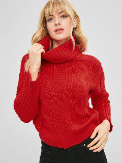 Turtleneck Plain Cable Knit Sweater - Cherry Red