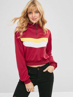 Stripes Panel Half Zip Sweatshirt - Cherry Red L