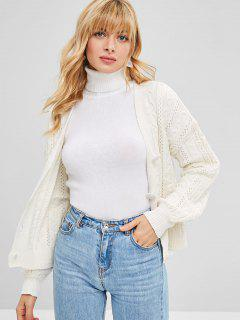 Button Up Cable Knit Eyelet Cardigan - Beige