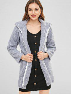 Open Front Piping Faux Fur Coat - Blue Gray M
