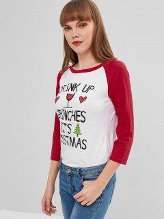 Camiseta De Mangas Raglán De Gráfico Con Letras - Rojo L
