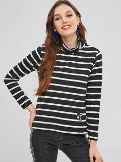 Camiseta Estampada Rayas De Cuello Alto - Negro Xl