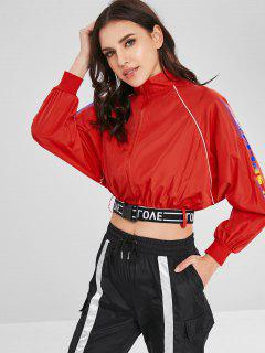 SPEEDS Graphic Zip Up Cropped Jacket With Belt - Red S