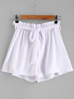 Tie Belt High Waisted Shorts - White L