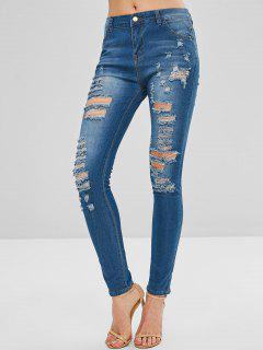 Skinny Distressed Jeans - Denim Blue S