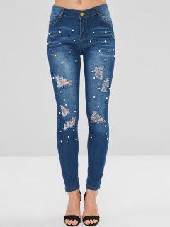 Beading Embellished Ripped Jeans - Denim Blue S