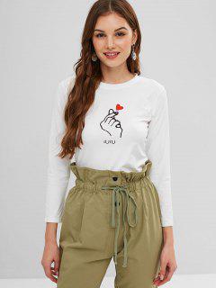 Camiseta De Mangas Largas Con Gráfico De Corazón - Blanco L