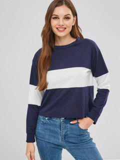 Casual Long Sleeve Two Tone Sweatshirt - Cadetblue M