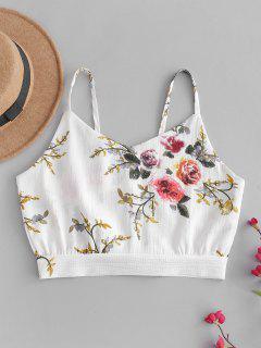 Camisole Fleur Enveloppée Courte - Blanc M
