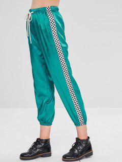 Pantalon De Jogging Brillant Et Taille Haute - Bleu Vert Ara  L