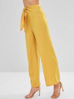 Cintura Atada Pantalones De Gran Altura - Amarilla De Abeja  L