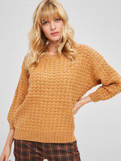 Casual Drop Shoulder Chunky Sweater - Saffron