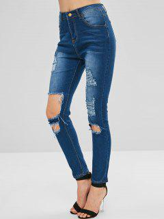 Distressed High Waisted Zipper Jeans - Denim Dark Blue M