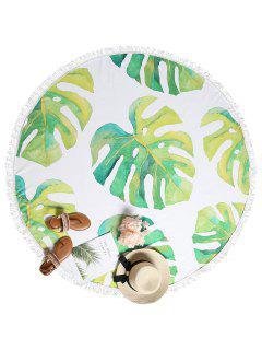 Tropical Leaf Fringed Beach Towel - Multi-a