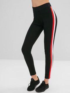 Hit Color Ribbon Splicing Leggings - Black L