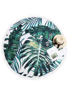 Fringed Tropical Leaf Beach Towel - Multi-a