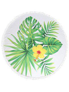 Leaf Floral Print Fringed Beach Towel - Multi-a