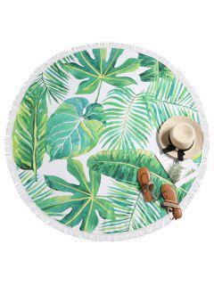 Leaf Print Fringed Beach Blanket - Multi-a