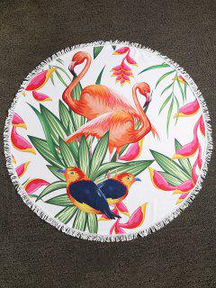 Serviette De Plage à Franges Flamingo Birds Plant - Multi-a