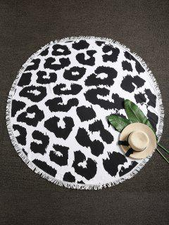 Leopard Fringed Beach Blanket - Multi-a