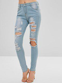 Light Washed Ripped Skinny Jeans - Denim Blue S