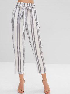 Striped Elastic High Waist Pants - Multi-a M