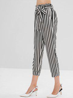 Patrón De Raya Pantalones Elásticos De Cintura Alta - Negro M