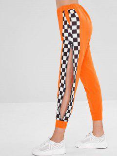Pantalones De Talle Alto Con Cremallera Y Cremallera A Cuadros - Naranja De Calabaza  Xl