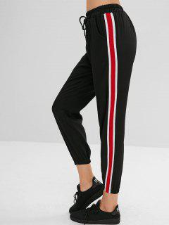 Drawstring Waist Striped Splicing Pants - Black S