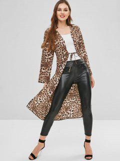 Leopard Print Drawstring Tie Front Longline Top - Leopard Xl