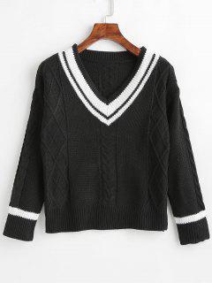 Stripes Cable Knit V Neck Sweater - Black