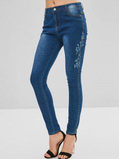 Flor Bordada Cremallera Jeans - Azul Oscuro De Denim S